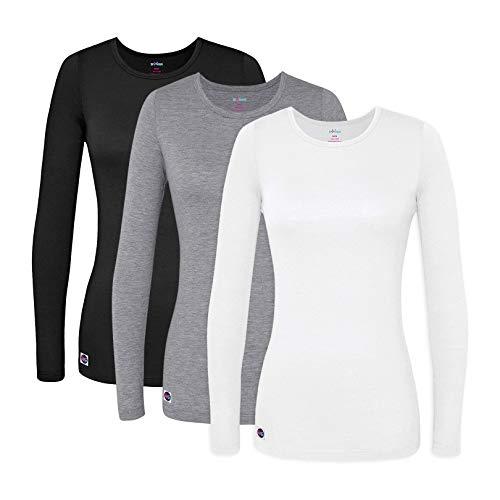 Sivvan 3 Pack Women's Comfort Long Sleeve T-Shirt/Underscrub Tee - S85003 - Black/Dark Marl Grey/White - XL