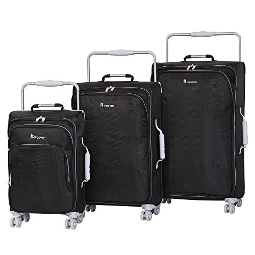 it luggage World#039s Lightest New York Softside 8 Wheel Spinner Raven With Vapor Blue Trim 3Piece Set 22/28/32