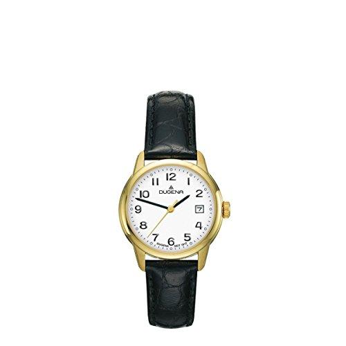 Dugena Damen Armbanduhr Vega Leder 29mm schwarz/gold