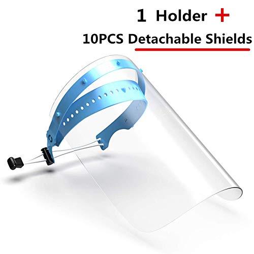 Visera de seguridad, 1 soporte y 10 fundas protectoras, soporte ajustable, muy transparente, a prueba de salpicaduras, antipolvo y antivaho
