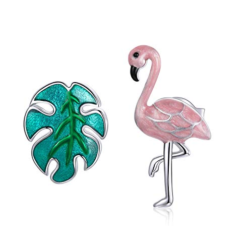 JQAM Mujeres asimétricas S925 ST925 Sterling SILLERGENIC DIVERSIÓN DIVERSIÓN DE GRATO Hoja DE Aceite Flamingo Pendientes Pendientes SCE1124
