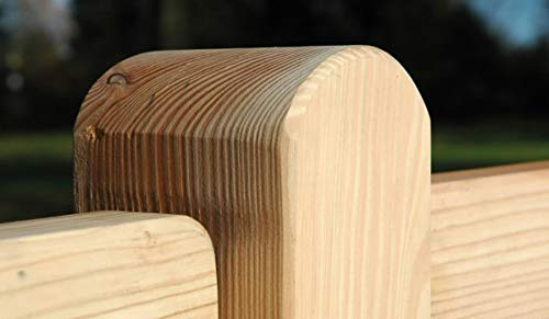 Gartenwelt Riegelsberger Premium Pfosten sibirische Lärche 90 x 90 mm Höhe 1000 mm für Zaunlatten Typ A Kopf abgerundet