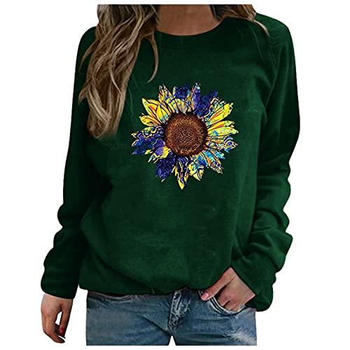 Julhold Sweatershirt para mujer patrón especial impresión contraste color manga larga sólido casual blusa suéter abrigo, Verde-18, S