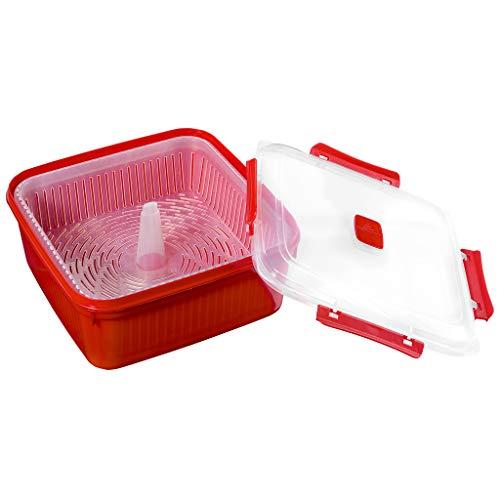Smart-T-Haus Taper Cocina Vapor con Válvula, Rojo, 1.6 L