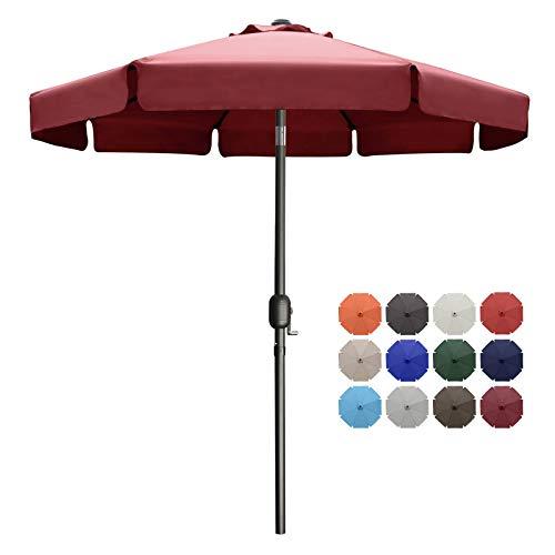 MASTERCANOPY paraguas de patio OutdoorMarket paraguas de mesa con volantes, 8 costillas resistentes (9 pies, borgoña)