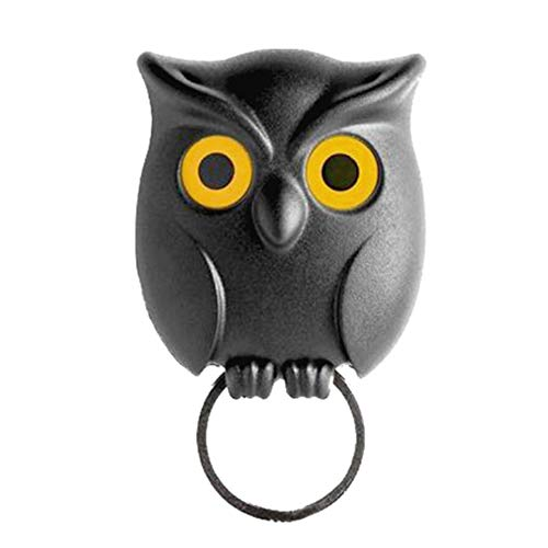 Wodeni Black Night Owl Wall Key Holder Hanging Hook Keep Keychains Key Ring for Home