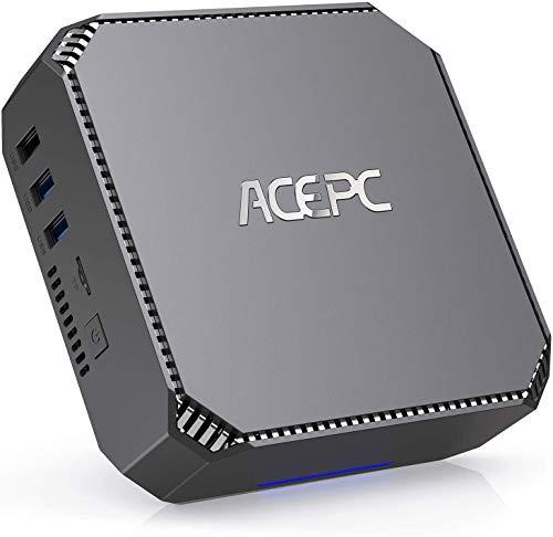 Mini PC, ACEPC 8GB RAM/128GB ROM Intel Celeron J3455 Prozessor 4K HD Windows 10 Pro Mini Desktop Computer mit 1000Mbps LAN, Dual Band WLAN, BT 4.2, Zwei HDMI-Ausgängen