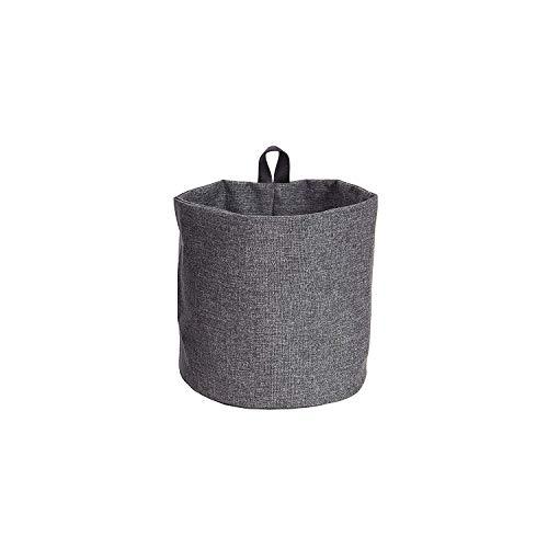 Bigso Box of Schweden Hängekorb klein – runder Wandkorb mit Schlaufe und in Leinenoptik – Aufbewahrungsbox zum Aufhängen oder Hinstellen aus Polyester und Karton – grau