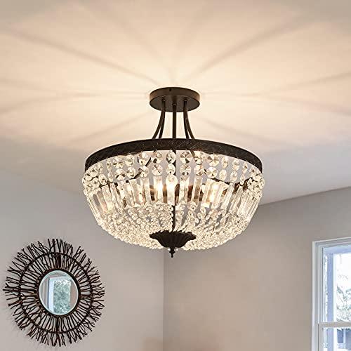 YYJLX 5-Light E12 Round Crystal Ceiling Light Fixture , Modern Semi Flush Mount Chandelier , Ceiling Lamp for Living Room Dining Room Entryway Hallway FoyerBedroom Laundry Bathroom(Black)
