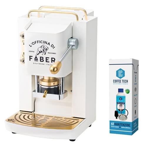 Macchina Caffe Faber PRO Deluxe Rifiniture in Ottone a Cialde in Carta Ese 44mm Omaggio 20 CIALDE Emozioni (Bianco)