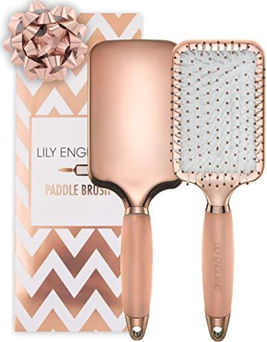 Lily England Spazzola Piatta perfetta per Districare, Stirare e Asciugare i capelli - Oro Rosa