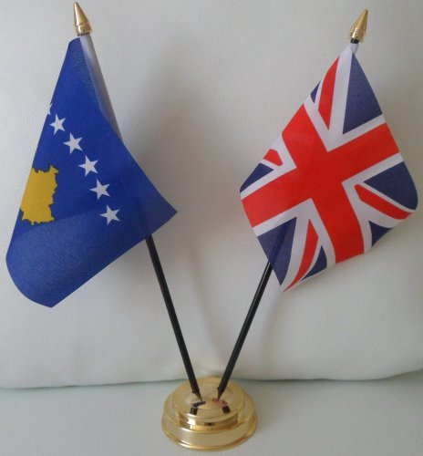 Kosovo 2 Drapeau Union Jack-Tableau d'affichage de l'amitié Centre de Table avec Base dorée