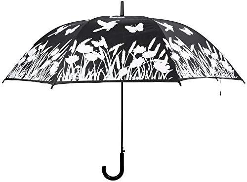 Esschert Design Farbverändernder Regenschirm Vögel, aus Kunststoff/Metallstiel, Ø 116,5 x 91,2 cm, schwarz/weiße Optik mit Vögeln, Schmetterling, Blum