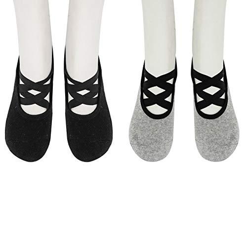 iiniim Calcetines Antideslizantes Mujeres Calcetines de Yoga Calcetines con Correas para Ejercicio Interior Yoga Pilates Ballet Danza Entrenamiento Descalzo Trampolín (Negro/Gris) Gris&Oscuro One Size