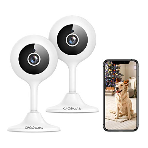 Security Camera Indoor, Goowls 1080p HD 2.4GHz WiFi Wired IP Camera for Home Security Baby/Pet/Nanny Monitor Motion & Sound Detection Night Vision Two-Way Audio Compatible with Alexa, 2-Pack (Renewed)