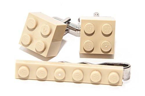 Crème Authentique Lego Pince à Cravate et Boutons de Manchette – Funky rétro Cool Boutons de Manchette fabriqué par Jeff Jeffers