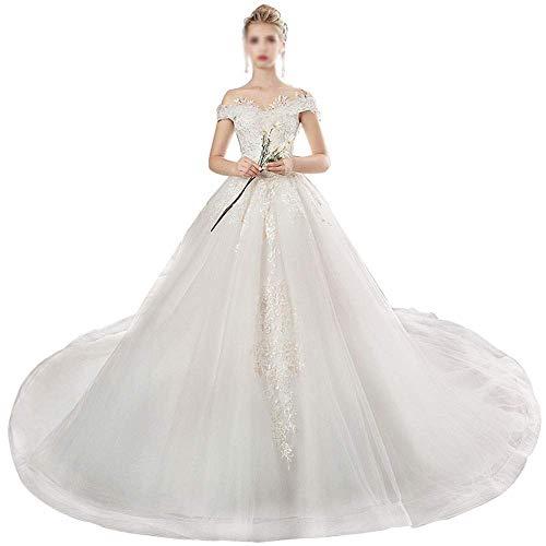 Kvinnors vita A-linje bröllopsklänningar damer bröllopsklänning axel spets stor svans prinsessa fantasi smal tredimensionell skärning känsla bekväm bröllopsklänning för bröllop, LIFU, foto färg, m