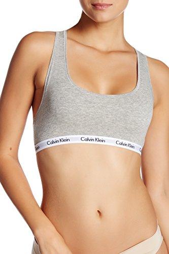 Calvin Klein Women`s Carousel Logo Bralette (Heather Grey(QP1036-020)/White, Medium)