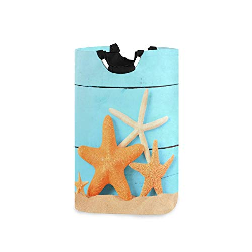 N\A Four Starfishes Panier à Linge Panier à Linge Pliable en Tissu Panier à Linge Sac à vêtements Pliant