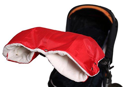 Baybino Handwärmer | Kinderwagen-Muff | Handschuhe | Warmes Innenfutter aus Lammfell-Imitat | Wasserfest & Winddicht | Für Kinderwagen oder Buggy von Hartan, Teutonia & Co. (Rot)