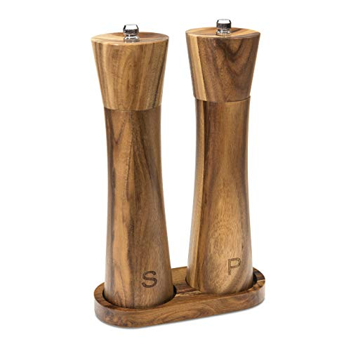 Wooden Salt and Pepper Grinder Set Refillable w/Matching Wood Tray - Tall 8 Inch Acacia Wood Salt and Pepper Mill Set with an Adjustable Grinder for Manual Seasoning - Wood Salt and Pepper Shakers