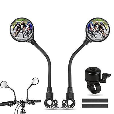IYOYI Bike Mirrors Handlebar Rearview Mirror Shockproof 360° Adjustable Handlebar for Mountain Road Bike Bicycle Electric Motorcycle and Fixed Gear Bike Handlebars Bike Bell