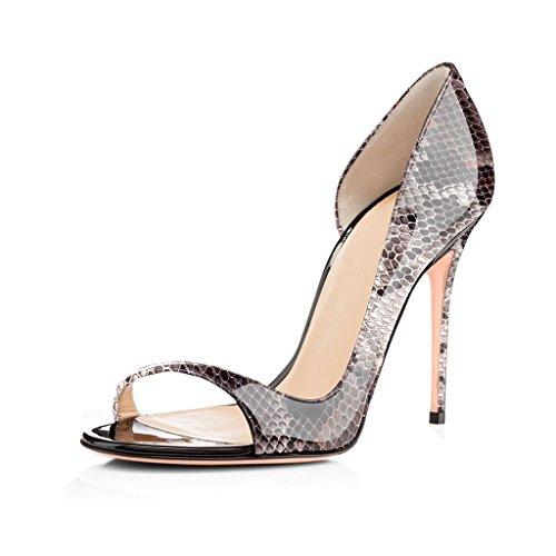 elashe Damenschuhe High Heels Pumps | Open Toe 10CM Cut Out Lack Heels | D'orsay Hochzeit Schuhe | Hochzeit Party Pumps Schlange EU44