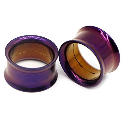 1 par de tornillos de acero quirúrgico que se ajustan a los tapones de túnel de la carne del oído, anodizado, rosca interna, doble ensanchado, expansor de oreja hueca, calibre, joyería-G-púrpura_12 mm