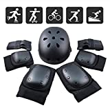 FUCNEN Sport Safety Gear Guard Set ajustable codo muñeca rodilleras y casco para niños, adolescentes y adultos, color negro, tamaño teenager(36-58kg)