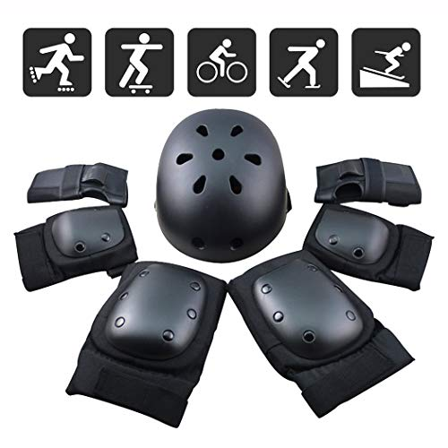 FUCNEN Sport Safety Gear Guard Set ajustable codo muñeca rodilleras y casco para niños, adolescentes y adultos