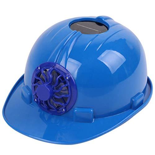 STRIR Casco de seguridad con energía solar, gorra de ventilación dura con ventilador de refrigeración para exteriores (Azul)