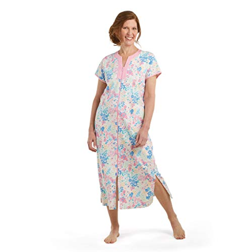 Miss Elaine Robe - Women's Long Interlock Premium Knit Robe, Ultra Soft with Full Zipper, Short Sleeves and Side Pockets (Large, Watercolor Floral)