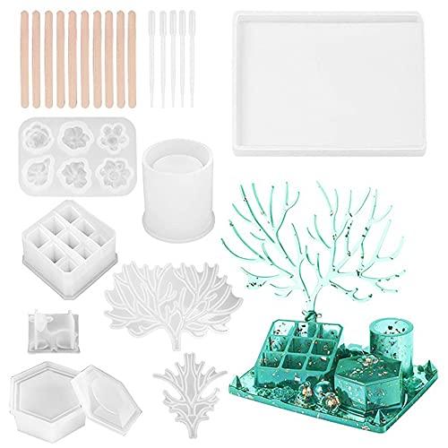 Kit de moldes de fundición de resina, 23 piezas con organizador de labios, caja de almacenamiento hexagonal, moldes de silicona y herramientas para manualidades de fundición