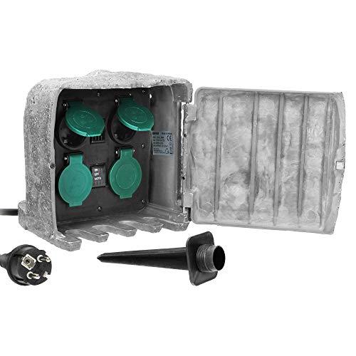 Orno OR-AE-13185(GS) Enchufe Exterior Cable de Goma H07RN-F 3x1,5mm2, 3m, 2 Modos...