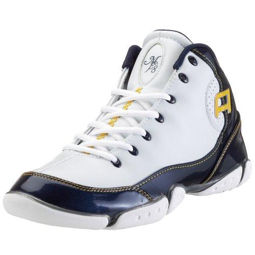 AND1 ME8 (L2G Unlimited) 1000901003, ltext - Sport Scarpe, Pallone da Basket da Adulto, Bianco/Blu, (Bianco/Blu/Oro)
