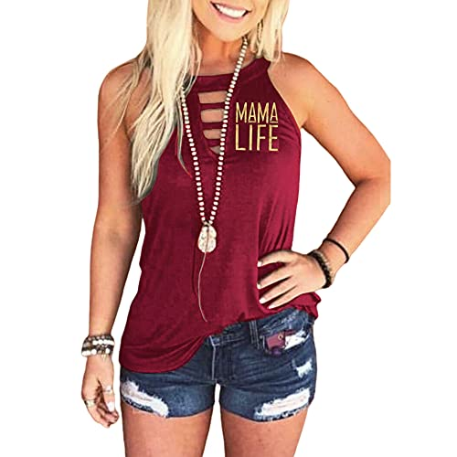 Camiseta Sin Mangas Mujer Sexy Fashion Letter Print Top Sin Mangas Verano Mujer Tops Beach Vacation Leisure Party Cómodo Suelto Top Mujer D-Red 3XL