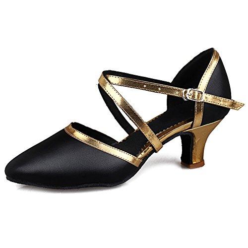 SWDZM Mujer Zapatos de baile/estándar de Zapatos de baile latino Ballroom modelo-ES-515 Gold 38 EU