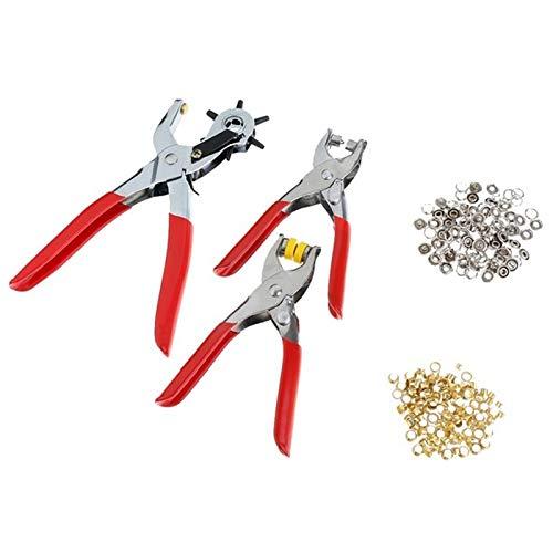 Iycorish 128 Teile/Satz Leder Locher Reparatur Werkzeug ?sen ?sen + Zangen Kit Neue (Rot + Silber)