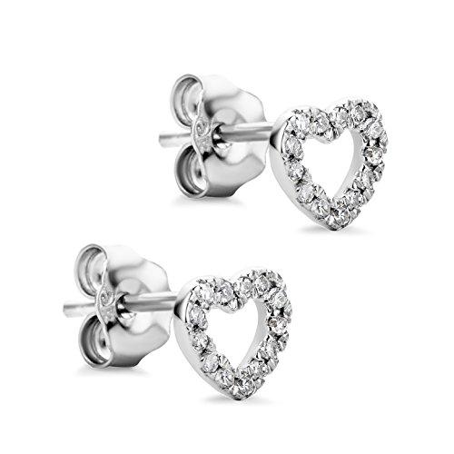 orovi Pendientes diamante pendientes set, forma de corazón Mujer Pendientes Oro Blanco 9quilates (375) brillantes 0.08CRT