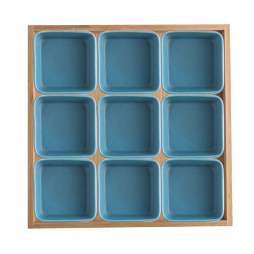 xiaokeai Cuencos Aperitivo Porcelana Bandeja Nueve Compartimentos, Plato de Frutas, Frutas secas Plato, Plato Grande Snack-Bandeja con Bandeja (9 Piezas por Juego) Salsa Cuencos (Color : C)