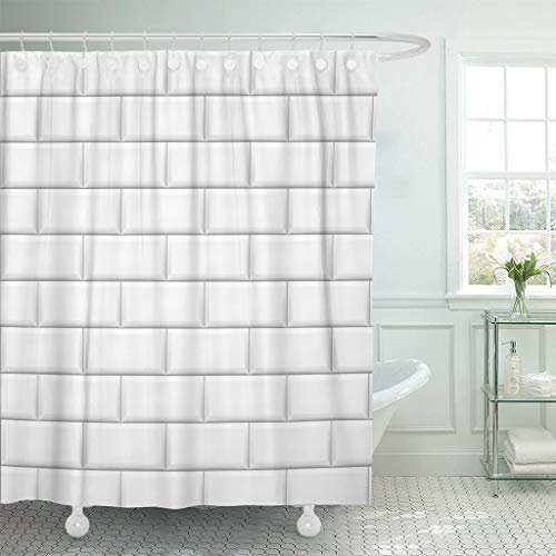 JOOCAR Cortina de ducha de diseño, diseño de azulejos blancos metropolitanos, arquitectura abstracta de apartamento, tela impermeable para decoración de baño con ganchos