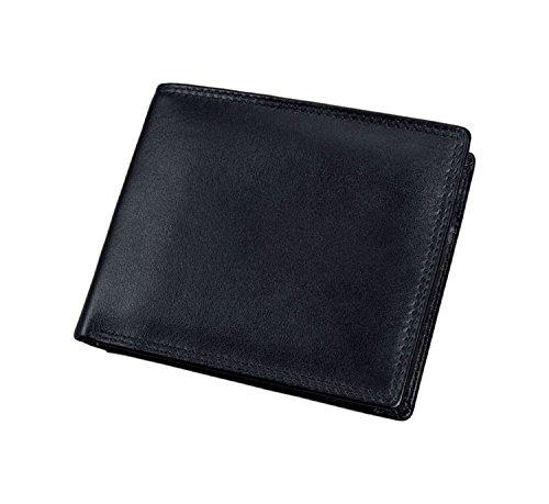Alassio 42057 - Kombibörse mit RFID-Folie im Querformat, aus hochwertigem Nappaleder, ca. 11,5 x 9,5 x 2 cm, schwarz