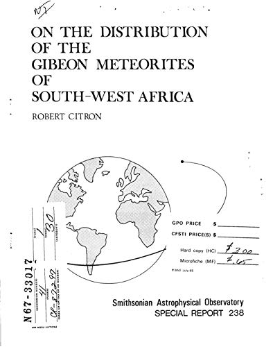 On the distribution of the Gibeon meteorites of southwest Africa (English Edition)