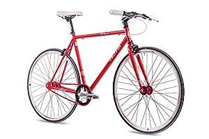 CHRISSON 28 Zoll Fixie Singlespeed Retro Fahrrad FG Flat 1.0 rot - Urban Old School Fixed Gear Bike für Damen und Herren