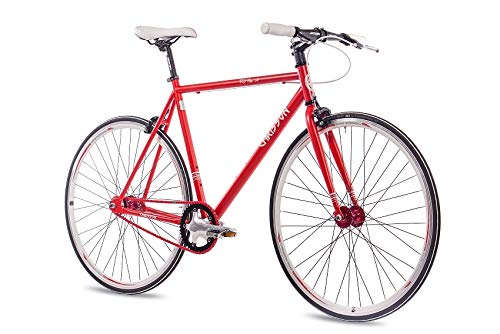 Chrisson, bicicletta da 28 pollici Fixie Singlespeed Retro FG Flat 1.0 rosso 59 cm – Urban Old School Fixed Gear Bike per uomo e donna
