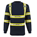 LANBEI Hi Vis Class 2 Reflective Shirts Safety Long Sleeve T Shirt Construction Work Shirts for Men with PVC Reflective Tape and Pocket(Navy+Yellow,M)