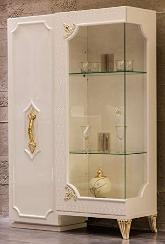 Casa Padrino Vitrina Barroco de Lujo Blanco/Oro - Vitrina de Madera Maciza Hecha a Mano con 2 Puertas - Muebles Barrocos - Noble & Magnífica