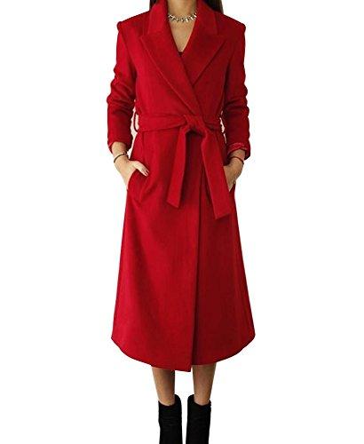 LaoZan Cappotto Lungo Invernale da Donna,Cardigan Giacca a Maniche Lunghe Miscela di Lana con Cintura M Rosso