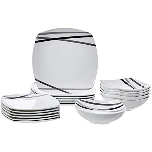 AmazonBasics 18-Piece Dinnerware Set - Modern Beams