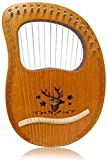 Lyre Harp 16 Strings, Metal Strings Wooden Lye Harp, Bone Saddle Mahogany Lye Harp with Tuning Wrench, Piano cloth, Pick, Black Gig Bag and Instruction Manual for Beginners Instrument Lovers